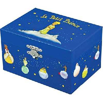 TROUSSELIER - le Petit Prince Saint Exupéry - Boîte à Trésors & Bijoux Musicale - Phosphorescent - Brille dans la nuit - Musique Petite Musique de Nuit de Mozart - Colori Bleu Roi
