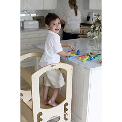 Little Partners Tour d'apprentissage pour enfants - Tabouret-escalier réglable en hauteur pour enfant de cuisine, cadre en bois, comptoir Naturel