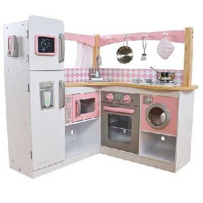 KidKraft 53185 Cuisine d'angle enfant en bois Grand Gourmet, jeu d'imitation incluant accessoires