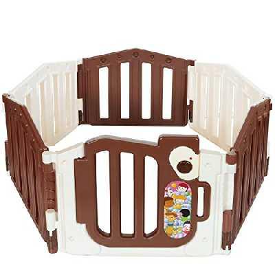 Parc bébé de 6 cotés XXL avec une porte de sécurité de LCP Kids® certifié EN 71
