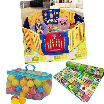 Infantsafe Grande Plastique bébé Parc d'activité Tapis de jeu 100Balles colorées–Intérieur/extérieur–robuste, facile à monter logement en panneaux–Fixation sans vis–International Livraison