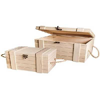 Rayher - 62651000 - 2 coffres en bois - 30x20.5x17.3 cm + 24x16x15.5 cm, Couleur et modèle aléatoire