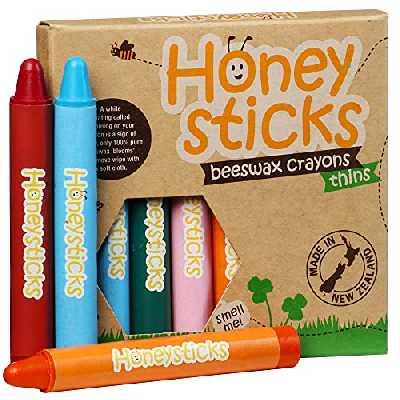 Honeysticks Boîte de 8 Crayons Fins 100% en Pure Cire d'Abeille naturels et nontoxiques sûrs pour Les Tout Petits 1 an et Plus. Faits Main en Nouvelle-Zélande Idéal pour l'Apprentissage de l'écriture