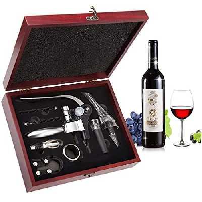 Smaier Tire Bouchon,Lapin Style 9 Pcs Ouvre-vin avec Aérateur Thermomètre Caisse en Bois Gift Set