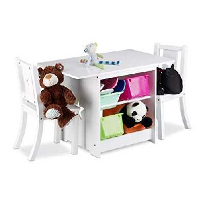 Relaxdays Ensemble table et chaises enfants en bois ALBUS pour les filles et les garçons table avec emplacement pour caisses de rangement, blanc