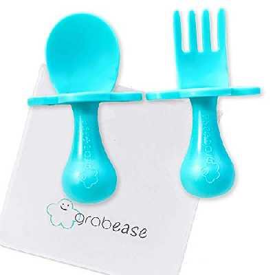 Grabease Couverts Ergonomiques d'Apprentissage Facilitant l'Auto-Alimentation Turquoise 1 Unité
