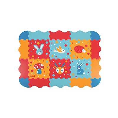 LUDI – Dalles décoratives épaisses pour l'éveil de bébé – 10002. Tapis de sol au motif Lapin - dès 10 mois. Lot de 6 dalles en mousse multicolores et 20 éléments de jeu.