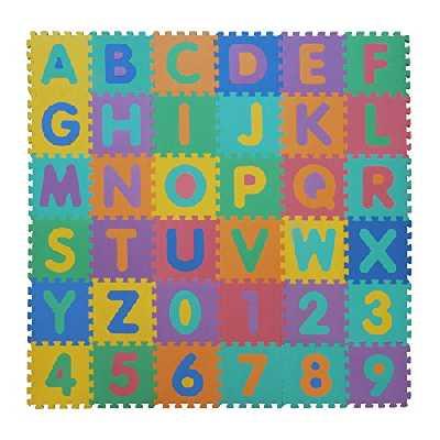 VeloVendo® - Tapis Mousse Bébé | Dalles 32 x 32 cm avec Certification CE & TÜV | Tapis pour Enfants | Tapis de Puzzle (Lettres + Chiffres)