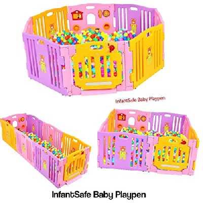 infantsafe Grand parc pour bébé en plastique pour intérieur ou extérieur – Solide, facile à assembler – Pas de fixations nécessaires.