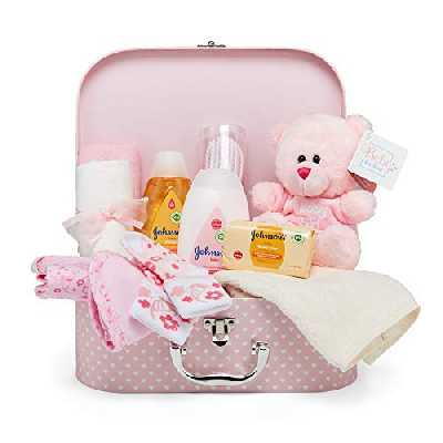 Baby Gift Set - Pink Hamper Full of Baby Products in Baby Girl Keepsake Box