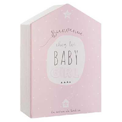 Coffret de naissance avec boite à souvenirs + cadre photo - Forme Maison - Coloris ROSE