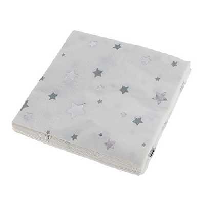 Gazechimp 20pcs/Paquet Serviette Jetable Etoile Serviette en Papier Fourniture Babay Shower Baptême - Argent