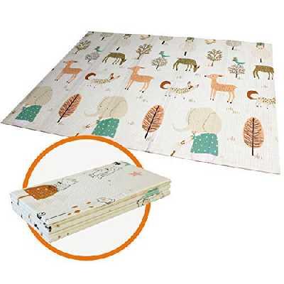 Tapis de jeu pour Bébé Enfant Tapis d'Éveil et de jeux pour Bébé Tapis pliable en mousse antidérapant imperméable Appliquer à l'intérieur et l'extérieur Non toxique-144,7 x 193 x 1 cm