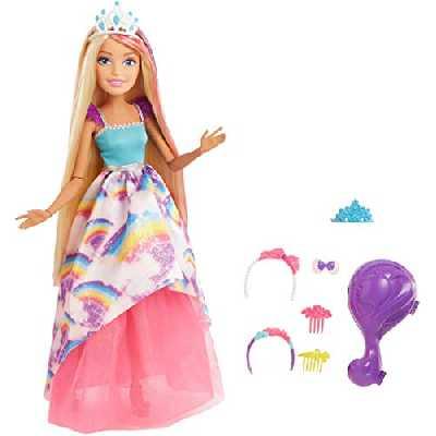 Barbie Dreamtopia grande poupée de 43 cm blonde à robe arc-en-ciel fournie avec brosse à cheveux, barrettes et serre-têtes, jouet pour enfant, FXC80