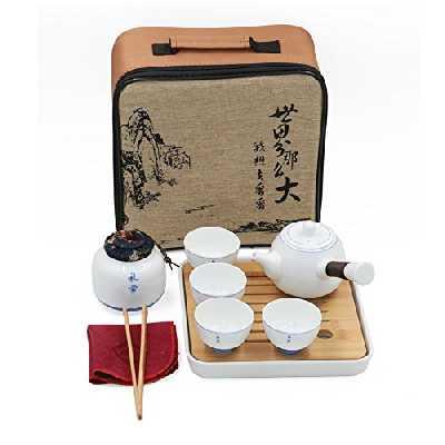 Ensemble de thé chinois / japonais Kungfu de voyage théière en céramique à la main & 4 tasses à thé et kit de réservoir de thé Portable Style Qinghua