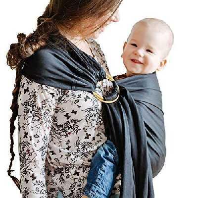 Shabany® - Écharpe porte-bébé Ring Sling – 100 % coton bio – Porte-bébé pour nouveau-nés et tout-petits jusqu'à 15 kg – Avec instructions d'utilisation (français non garanti) – Noir (dreams)