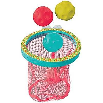 LUDI - Panier d'adresse pour jouer au basket à l'heure du bain. Fixation ventouse. 3 balles en plastique incluses. Permet le rangement des jouets de bain. Dès 18 mois. Développe la dextérité - 40016