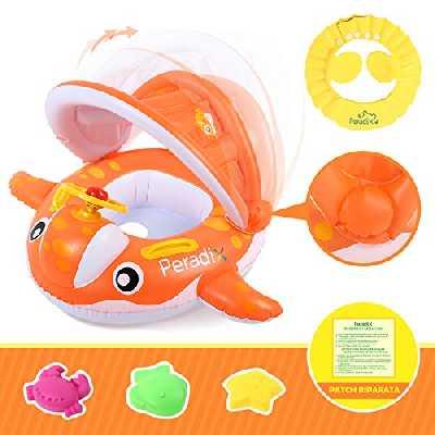 Peradix Bouée Gonflable bébé Baleine, New Cadeau de Boue Bebe Piscine pour Les Enfants Qui nagent en été, UV + Protection Solaire Parapluie (Orange)