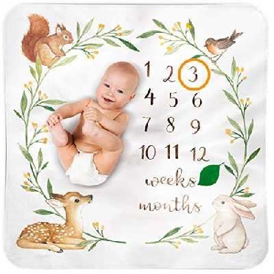 Couverture Bébé Monthly Milestone - Lit Enfant Aquarelle Forêt Crèche Tapis De Sol - Meilleur Cadeau Naissance Personnalisé Unisexe Nouveau-né Fond Photo - Cadeau Baby Shower
