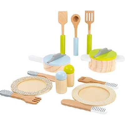 Small Foot 11098 Service de table et lot de casseroles en bois enfants, complément parfait à toute cuisine de jeu, 15 pièces Jouets, multicolore