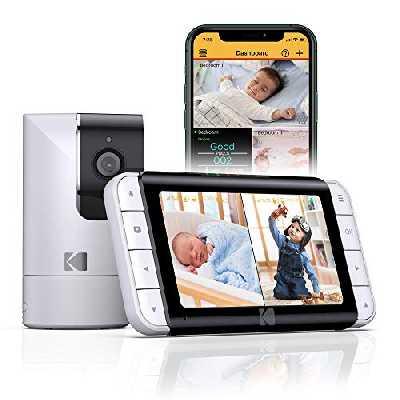Moniteur bébé vidéo KODAK CHERISH C525 avec App Mobile - Caméra WiFi avec Pano/Pivoter/Zoomer à Distance, écran HD de 5 Pouce, Caméra à Haute Résolution, Audio Bidirectionnel, Vision Nocturne