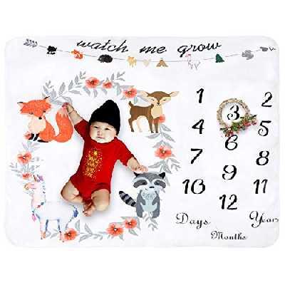 Couverture polaire pour bébé mensuel jalon extra large photographie fond épais accessoire emmaillotage cadeau pour fête prénatale