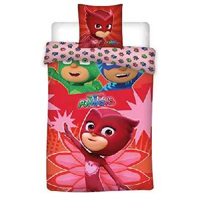 Pyjamasque Parure de lit Enfant Polycoton - Housse de Couette 140 x 200 cm Taie 63 x 63 cm