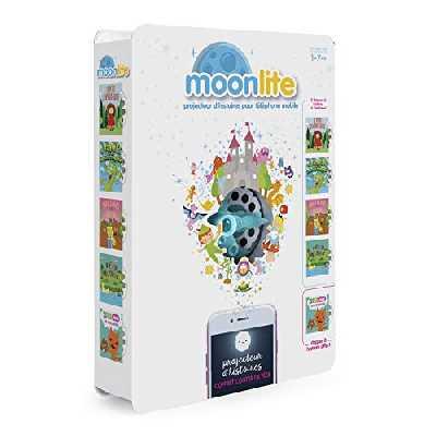 Moonlite 6047228 Pack Projecteur + 5 Histoires - Contes de fées – Projecteur d'histoires pour enfant bébé – Effets sonores et lumineux -Educatif et interactif - 1 à 7 ans - Inspiré des livres contes