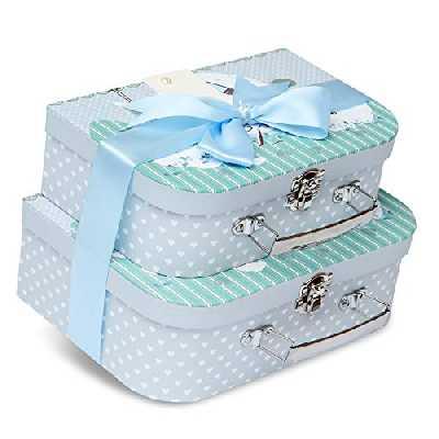 Boîte à souvenirs - 2 étuis avec ruban en satin et étiquette à message