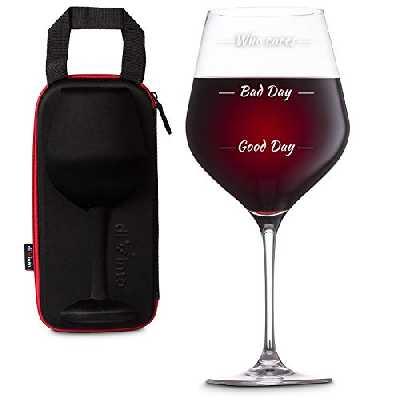 diVinto Verre à vin Géant Who cares avec étui, Grand Verre à vin Drôle avec 3 niveaux d'humeur 860 ml, Cadeau pour Amateur de vin
