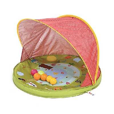 Ludi Tente Anti-UV Abribaby Protège du Vent et du Soleil | 6 balles incluses | Abri et pataugeoire | Capote Anti-UV 50 | Dès la Naissance