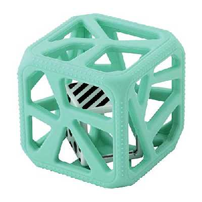 MALARKEY KIDS Kids Hochet Cube de Dentition en Silicone Alimentaire Facile à Agripper Clair Vert 1 Unité