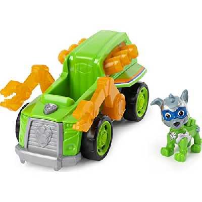 Paw Patrol - 6054652 - Jeu enfant - Véhicule + Figurine Mighty Pups Rocky - La Pat' Patrouille