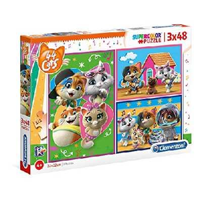 Clementoni- Supercolor Puzzle-44 Cats-3x48 Enfant-boîte de 3 Puzzles (48 pièces) -fabriqué en Italie, 4 Ans et Plus, 25239, Multicolore