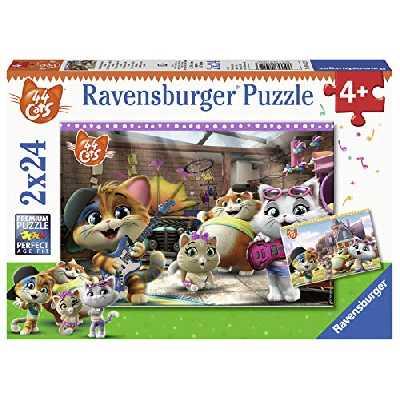 Ravensburger- Puzzles 2x24 pièces Les 44 Chats Jouent de la Musique Cats Enfant, 4005556050123
