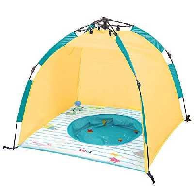 Ludi Piscine et Tente Anti-UV de Plage Ouverture Minute Protège du Vent, du Soleil et du Sable | Légère et compacte | Rangement Facile avec Sac de Transport | Capote Anti-UV 50 | Dès 10 Mois