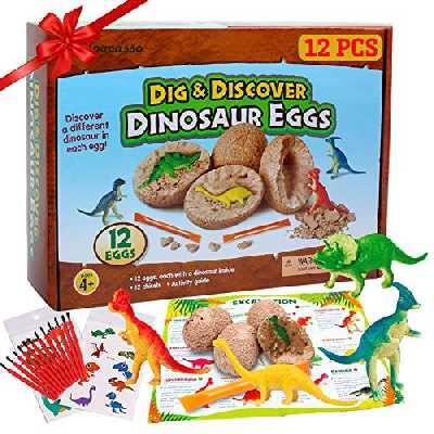 Alpacasso 12 PCS Oeufs de Dinosaure Partie Fournitures Jouets, Kit Dino Egg Dig, Dinosaur Party Favors Jouets STEM pour Enfants à partir de 4 Ans 5 5 + (2 Tatouages temporaires Inclus).