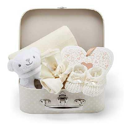 Coffret Naissance avec Cadeaux pour Bébés Incluant Hochet bébé Cadre photo Linge de Mousseline Bavoir Paire de Chaussettes Paire de Mitaines et Bonnet