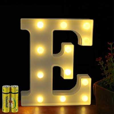 HONPHIER® Lettres Lumineuses Alphabet Lumineux Lampe LED Lettre Lumières Lettre Deco Opérateur à Piles pour Réceptions Partie Mariage Maison Bar Décoration (E)