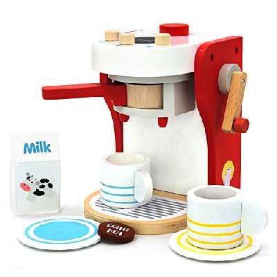 yoptote Jeux Imitations Enfants - Machine a Cafe Kit Cuisine Enfant Jouet en Bois de Jouet éducatif Jeu de Rôle pour Anniversaire Pâques Enfants 2 3 4 Ans