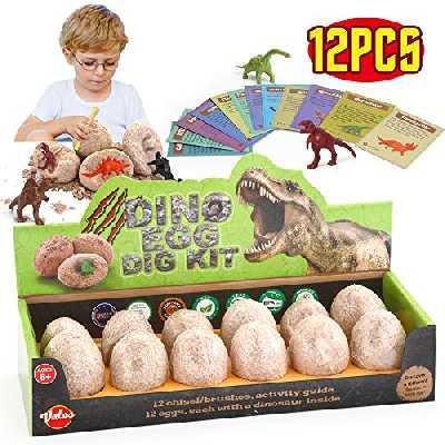 VATOS Oeufs de Dinosaure Kit de Fouille 12 Pack, Découvrez 12 Dinos Différents, œuf de Dino Jouet D'archéologie Fête de Pâques Jouets STEM Jouets éducatifs pour 6 Ans Garçons Filles Enfants Cadeau
