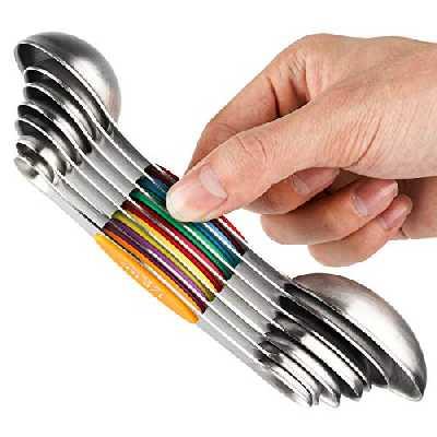 Lot de 7 cuillères à mesurer magnétiques en acier inoxydable double face empilables cuillères à soupe pour mesurer les ingrédients secs et liquides
