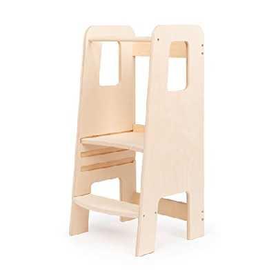 ully by moblì®| la première tour d'apprentissage en bois naturel | Fabriquée en Italie selon les principes Montessori | Conçue par des éducateurs experts | Tour d'apprentissage avec étagères réglables