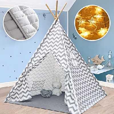 Tipi Enfant avec Tapis rembourré - Grande Maison de Jeu Pliable Solides intérieure extérieure- 100% Toile en Coton Tente de Jeu pour Enfants (Gris Chevron)