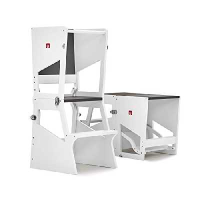 Bianconiglio Kids ® Tour d'observation Montessori Moka TRS Transformable en Bureau - Finition Blanche Mate, Hauteur réglable, Transformable en Bureau, 5 Positions en 1 Objet