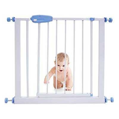 Leogreen - Barrière de Sécurité sans Perçage Barrière Sécurité Enfant Extensible de 74 à 87 cm, Easy Lock avec Une Main