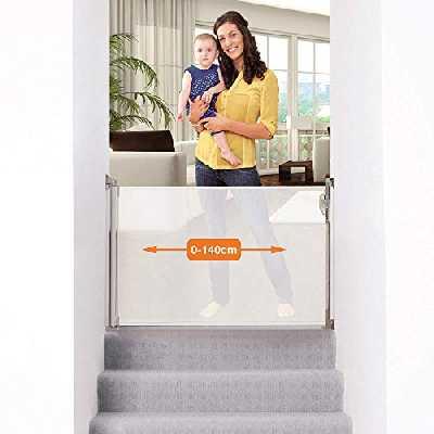 Dreambaby® (0-140cm) - Barrière de Sécurité Extensible/Rétractable pour Portes et Escaliers. Extra-Haute, Relocalisable, pour une Utilisation à l'Intérieure et à l'Extérieure. Version 2019! (Blanc)