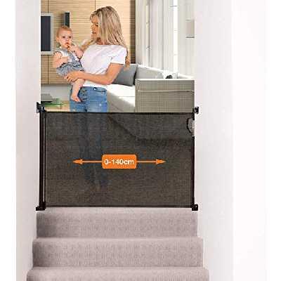 Dreambaby® (0-140cm) - Barrière de Sécurité Extensible/Rétractable pour Portes et Escaliers. Extra-Haute, Relocalisable, pour une Utilisation à l'Intérieure et à l'Extérieure. Version 2019! (Noir)