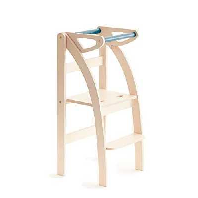La Taue, Ettomio Tour d'observation Montessori qui se replie et se transforme en un tabouret ou une chaise. 100% fabriqué en Italie.