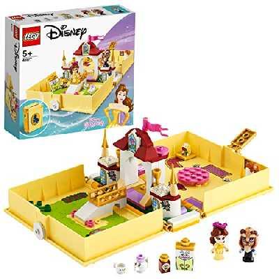 LEGO Disney Princess, Les aventures de Belle dans un livre de contes, Ensemble de palais de la Belle et de la Bête, Jouet de voyage, 121 pièces, 43177